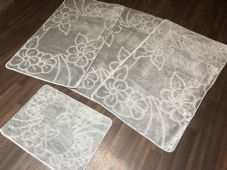 ROMANY GYPSY WASHABLES NEW NON SLIP SET OF 4 MATS SILVER/GREY CHEAPEST AROUND
